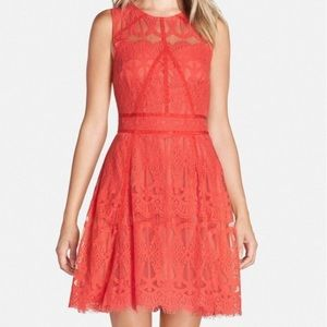 adelyn rae sleeveless red lace dress xs
